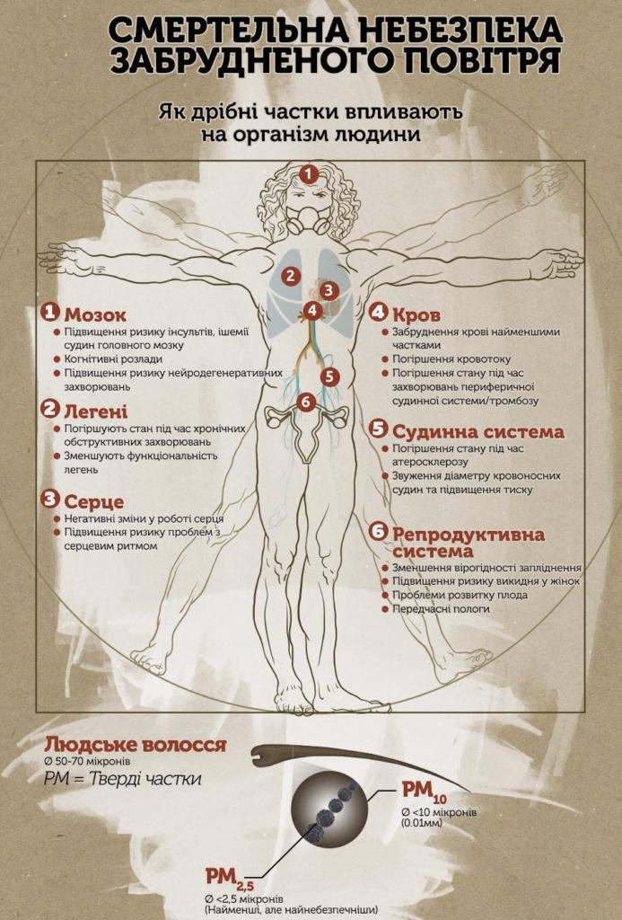 инфографика опасности для здоровья человека от загрязненного воздуха